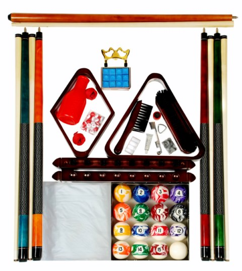 Billiard - Pool Table Accessory Kit W/ Swirl - Marble Style Ball Set Mah Finish